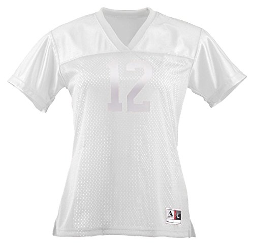 Augusta Ladies Junior Fit Replica Football Jersey, White, X-Large