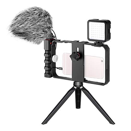 Neewer Smartphone Kamera Video Mikrofon Rig Set Telefon Video Stabilisator Griff mit Video Mikrofon Mini LED Video Licht Mini Tischstativ fur Vlogging Tutorials YouTube Videos