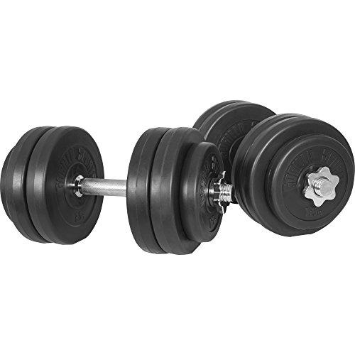 GORILLA SPORTS® Kurzhantel 2er Set Kunststoff 30 KG – Hantel-Set 30/31 mm mit Hantelstangen, Gewichte und Verschlüsse