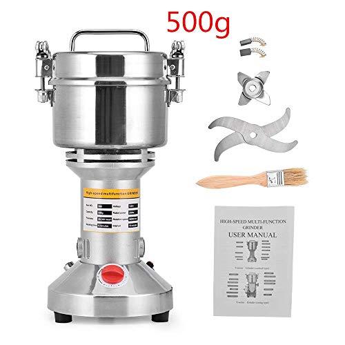 HUKOER Macinacaffè portatile 220V Herb Grain Spice Mulino per cereali Macinatore per farina in polvere Macchina, 6 lame per frantumazione a tempo rapido Robot da cucina ad alta velocità (500 g)