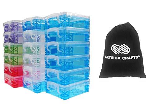 Storage Studios Advantus Super Stacker Crayon Box 8 Blue, 4, Clear, 2 Green, 2 Purple, 2 Pink 1.6 x 3.5 x 4.8 in. 61612 (18-Pack) Bundled with 1 Artsiga Craft Bag