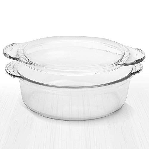 Clear Round Glass Casserole by Simax | Deep Dish, With Lid, Heat, Cold and Shock Proof, Microwave, Oven, Freezer, and Dishwasher Safe, Made in Europe (2.9 Quart)