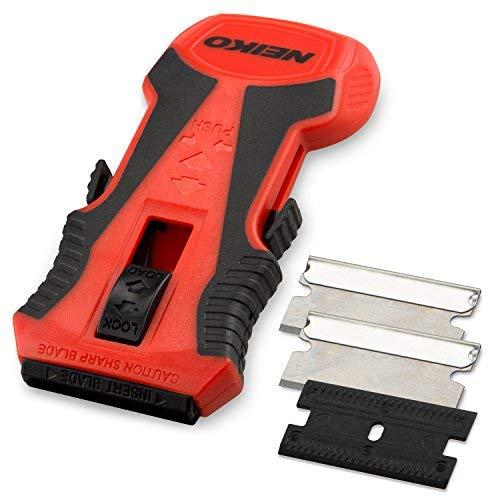 NEIKO 00885A Mini Retractable Razor Scraper with Patented Blade Storage | 1 Piece Plastic Scraper Attachment | 2 Pc Razor Blades Included