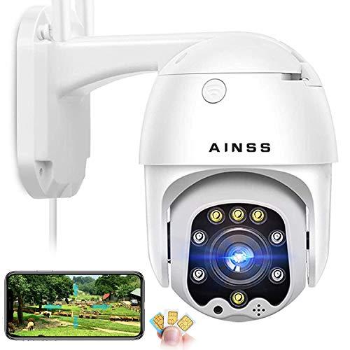 3G/4G HD IP Cámara de Vigilancia Exterior,Seguridad del hogar / Granja / Rancho,(Girar 355°/110°) IP66 a Prueba de Agua, Visión Nocturna, Detección de Movimiento, Audio Bidireccional,con Tarjeta 32G