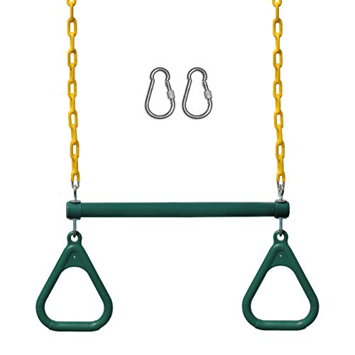 Jungle Gym Kingdom Swing Sets for Backyard, Monkey Bars & Swingset Accessories - Set Includes 18' Trapeze Swing Bar & 48' Heavy Duty Chain with Locking Carabiners - Outdoor Play Equipment (Green)