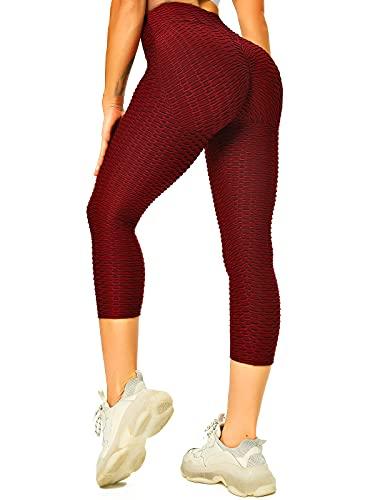 FITTOO Donna Pantaloncini Capri Sport Corti 3/4 Calzamaglia Sportivi Leggins Sexy Ginnastica Alta Elastico per Palestra Jogging Fitness Yoga #2 Vino Rosso M
