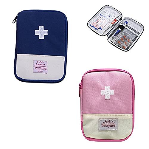 2 Piezas Botiquín de Primeros Auxilios, Mini Kit Primeros Auxilios, Bolsa Médica Vacio, Portátil Mini Kit Primeros Auxilios Viaje, para Situaciones Emergencia en Hogar, Oficina, Viajes (Azul, Rosa)