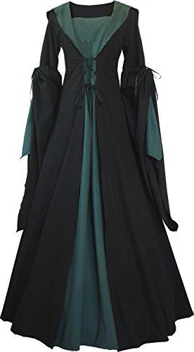 Dornbluth Damen Mittelalter Kleid Milienn Schwarz (48/50, Schwarz-Dunkelgrün)