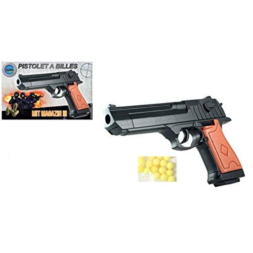 Nick and Ben Softair-Pistole Softair-Waffe Air-Soft mit Munition schwarz braun 6 mm Federdruck ABS Kugel-Pistole Erbsen-Pistole Kinder-Pistole Spielzeug-Pistole