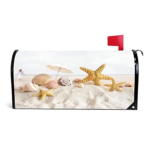 Seashells and Starfish On The Beach Funny Magnetic Mailbox Cover Wraps Post Box Canvas Garden Yard Home Decor for Outside
