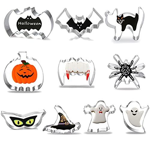 Juego de 10 moldes para galletas de Halloween, de acero inoxidable, para fondant, galletas, forma de raqueta, ojo fantasma, gato, calabaza, araña