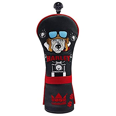 Craftsman Golf Motorcycle Cartoon Dog Headcover for Hybrids (Hybrid Cover)