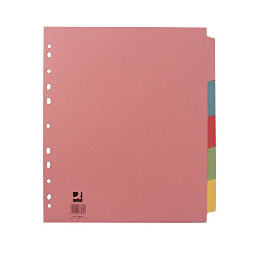 Q-CONNECT A4 5 Part Extra Wide Subject Divider, Pink