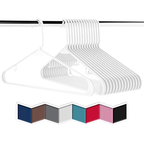 Plastic Clothes Hangers (20, 40, & 60 Packs) Heavy Duty Durable Coat and Clothes Hangers | Vibrant Colors Adult Hangers | Lightweight Space Saving Laundry Hangers (20 Pack - White)