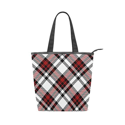 Lattice Stripe Black Red Large Utility Canvas Tote Bag Work Travel Shoulder Bag Handbag Reusable Grocery Bags for Women and Girls (11×4×13.6 in)