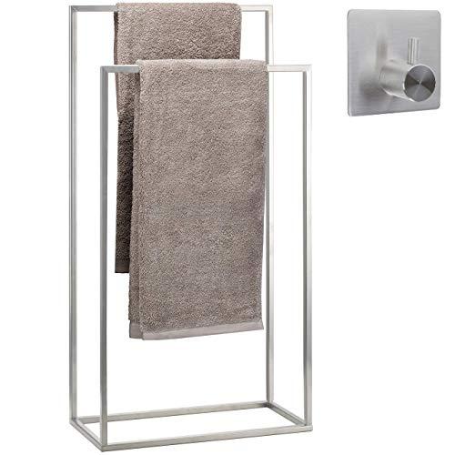 smartpeas toallero de pie para baño de acero inoxidable con recubrimiento de polvo – en acabado cromo – toalleros de baño de pie con 2 brazos +MÁS gancho adhesivo