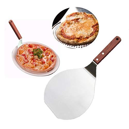 Paletta per pizza Hebudy Round Pizza Peel Pala per torta in acciaio inossidabile con manico in legno per cottura della torta per pane 7 pollici su forno a pietra per pizza e grill