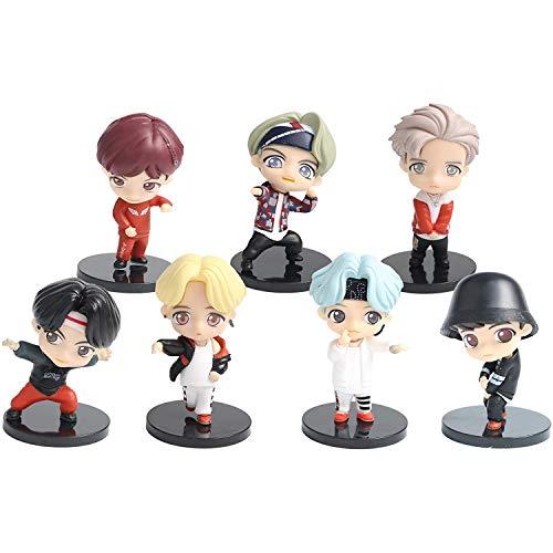 K-POP BTS Mini Figurine 7pcs Figurines Bangtan Boys Gâteau Cake Topper Mini Figurine Jouet PVC Jouet Boys Personnages Figure Jouets pour Enfants (Version 2)