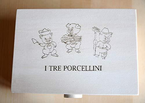 """Cofanetto fatto a Mano con personaggi Marionette """"I Tre Porcellini"""" per Teatro Kamishibai in Legno, Gioco per Bambini/ Teatrino delle Ombre."""
