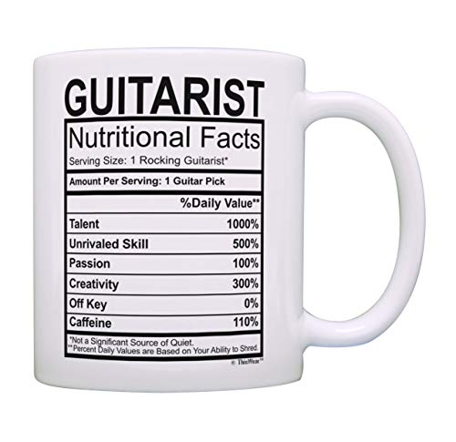 Music Lovers Gifts Guitarist Nutritional Facts Mug Guitar Mug Music Themed Gift Music Related Gifts Rock Gifts for Men Coffee Mug Tea Cup White