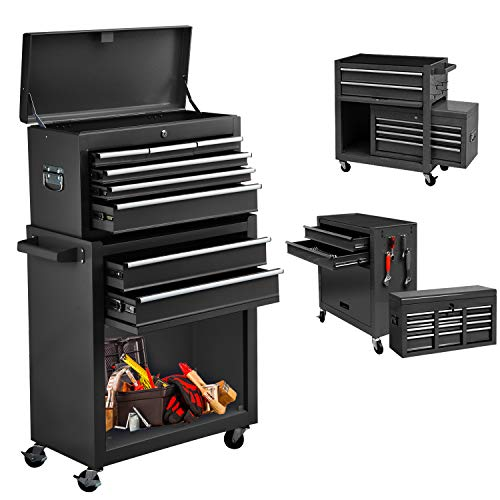 Compound Rolling Tool Chest with Wheels, Separable High Capacity Tool Storage Cabinet with 8 Drawers, Lockable Metal Tool Chest Organizers for Garage & Warehouse