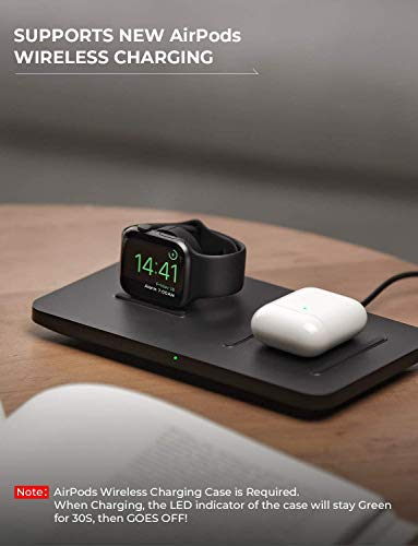 """Wireless Charger, Seneo 2 in 1 Dual Wireless Charging Pad 5 It Is Bound to Be Different - The base of the Watch charging dock had been sloped, which is convenient to connect with Watch tightly. The wireless charging pad decorated with threaded silicone for stable charging and it is also the """"sweet spot"""" for charging accurately. How to Improve Concentration - Use Seneo wireless charging pad improving concentration in work or study and without interruption. Just put your phone on the wireless charger, juice yourself, and your phone up simultaneously. The Close Partner on the Bedside - The mute charging and the green gentle indicator shows that the charging is in progress with stability and without interruption."""