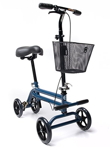 KneeRover Evolution Steerable Seated Scooter Mobility Knee Walker Crutches Alternative in Blue