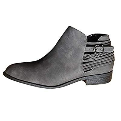Panpany Chelsea Boots Women Block Heel Suede Ankle Leather Low Winter Lace Flat Ladies Casual Comfortable Chunky 3cm Heeled Shoes Gray