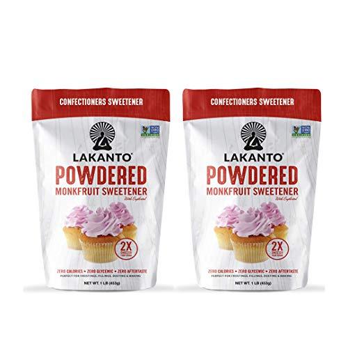 Lakanto Powdered Monkfruit Sweetener - Powder Sugar Substitute 1 LB - Pack of 2