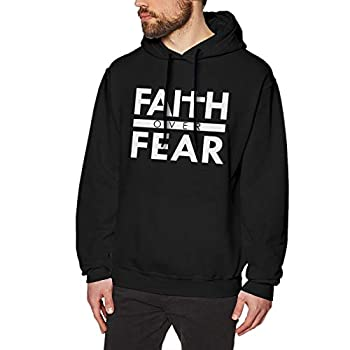 Faith Over Fear Bible Scripture Verse Christian Man Hoodie Casual Sweater Hooded Black
