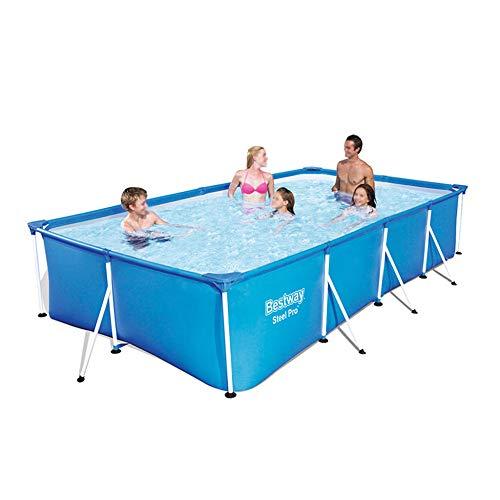XGGYO Espesar Piscinas, Pool Rectangular Desmontable con Marco de Metal a Prueba de Herrumbre sin Bomba de Filtro, Fácil de Instalar/azul / 300×201×66cm