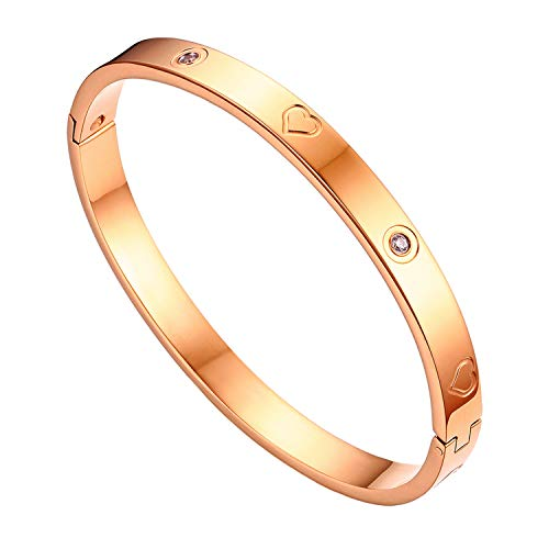 OIDEA Bracciale da Donna Lucido in Acciaio Inossidabile e Zirconi Stile Semplice ed Elegante alla Moda Regalo Perfetto Colore Oro Rosa