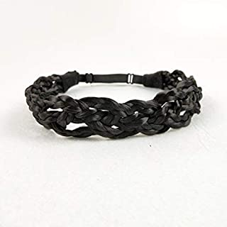 Vigour Fashion Synthetic Hair Braided Headband Classic Plaited Braids Elastic Stretch Hairpiece Women Girl Beauty Accessory Daily Use #1B Natural Black Color