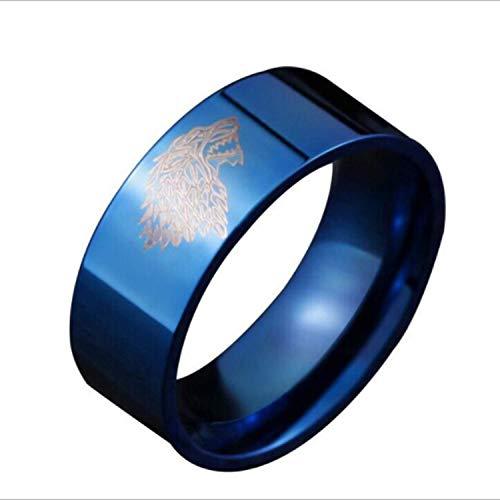 djryj Praised Color Azul Macho Acero Inoxidable Anillo Juego de Tronos Hielo Lobo Casa Stark of Winterfell Hombre Anillos para Cumpleaños, Día San Valentín, Aniversario - Azul 11