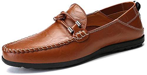 AARDIMI Herren Mokkasins Slip on Casual Männer Loafers Frühling und Herbst Herren Mokassins Schuhe aus echtem Leder Herren Wohnungen Schuhe schwarz (44 EU, Z-Braun-1190)