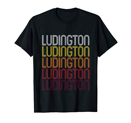 Ludington, MI   Vintage Style Michigan T-shirt