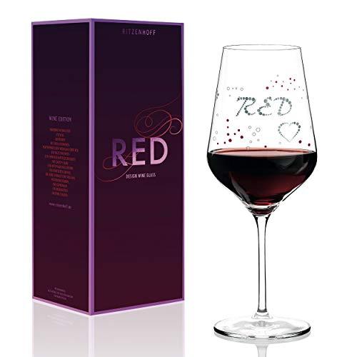RITZENHOFF Red Rotweinglas von Sabine Röhse, aus Kristallglas, 580 ml, mit edlen Platinanteilen