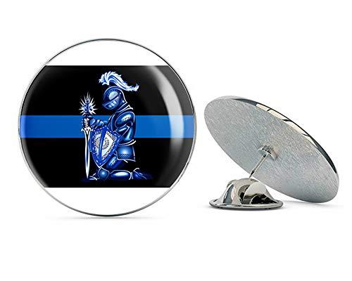 Thin Blue Line Kneeling Kinght Metal 0.75' Lapel Hat Pin Tie Tack Pinback