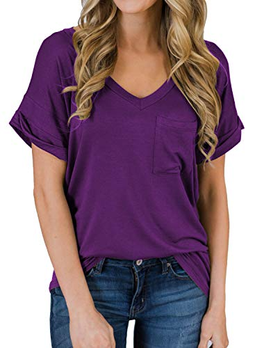 MIHOLL Women's Short Sleeve V-Neck Shirts Loose Casual Tee T-Shirt (13_Purple, XX-Large)