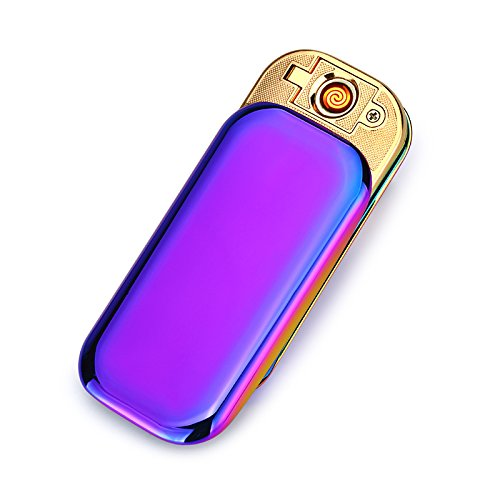 CHAOBEITE USB Elektronisches Berühren Feuerzeuge Windfest Elektronisch Zigarre Zigarette Feuerzeug Aufladbare (Lila) Lila