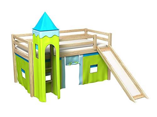 Bociek Meble Cama con tobogan,Torre,Cortinas,colchónCama de Juego,Cama para niños,de Alta,Muchos Colores (PINO-2072)