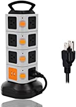 ONEreach Power Strip Surge Protector Tower, 2 USB + 15 AC Outlets + 10A 16AWG 2500W + 6.5ft Long Cord Wire Extension Electric Charging Station, Universal Socket for PC Laptops Phones