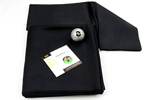 7ft BLACK Hainsworth Elite-Pro Pool Table Cloth - FREE Silver 8 Ball