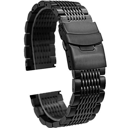 Kai Tian Correa reloj 24mm Pulsera Metal de Repuesto Correas Reloj Malla Negra para Hombre Cierre Despliegue
