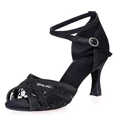 Love Shoes Zapatos De Tango para Mujer Zapatos De Baile Latino Estándar Sandalias De Tira De Hebilla De Metal Zapatos De Baile De Salón Suela Blanda,Negro,36EU/5UK