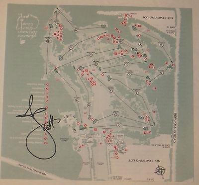 Great Features Of ADAM SCOTT Signed MASTERS Augusta National Golf Club COURSE MAP Pga 2014 - Autogra...