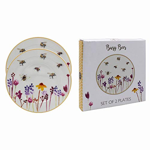 Set of 2 Busy Bees Design Round Fine China Serving Plates 19cms