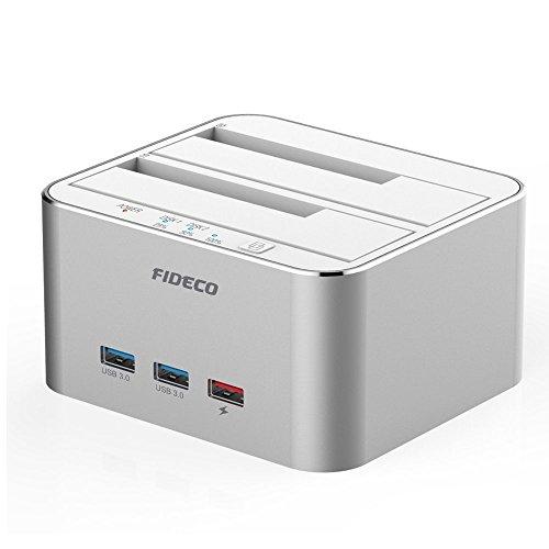 FIDECO Station d'accueil du Disque Dur, Aluminium USB 3.0 2 Baies à Dock avec 3 Ports hub pour SATA de 2,5/3,5 Pouces SSD/HDD jusqu'à 2X 10TB,Clonage Hors Ligne