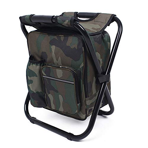 No/Brand Cooler Folding Camping Chair 3 in 1 Backpack Foldable Fishing Chair with Cooler Hiking Stool (Black)