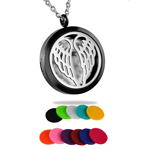 HooAMI Aromatherapy Essential Oil Diffuser Necklace - Angel Wing Round Silver Black Locket Pendant
